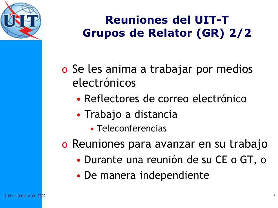 Reuniones del UIT-T Grupos de Relator (GR) 2/2