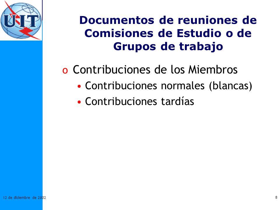 Contribuciones de los Miembros