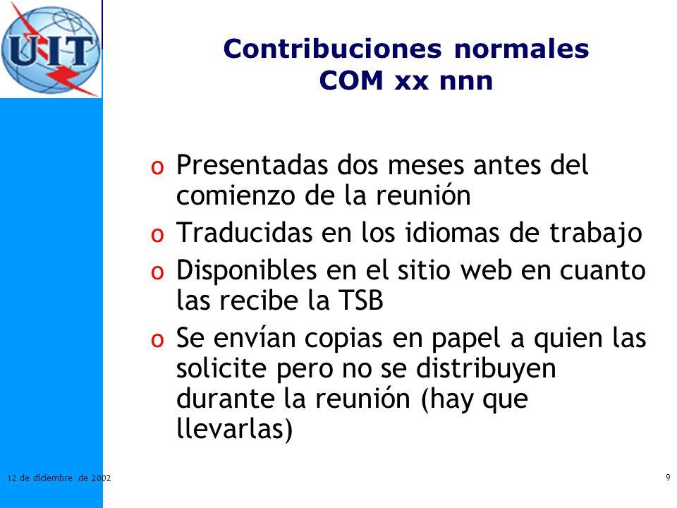 Contribuciones normales COM xx nnn