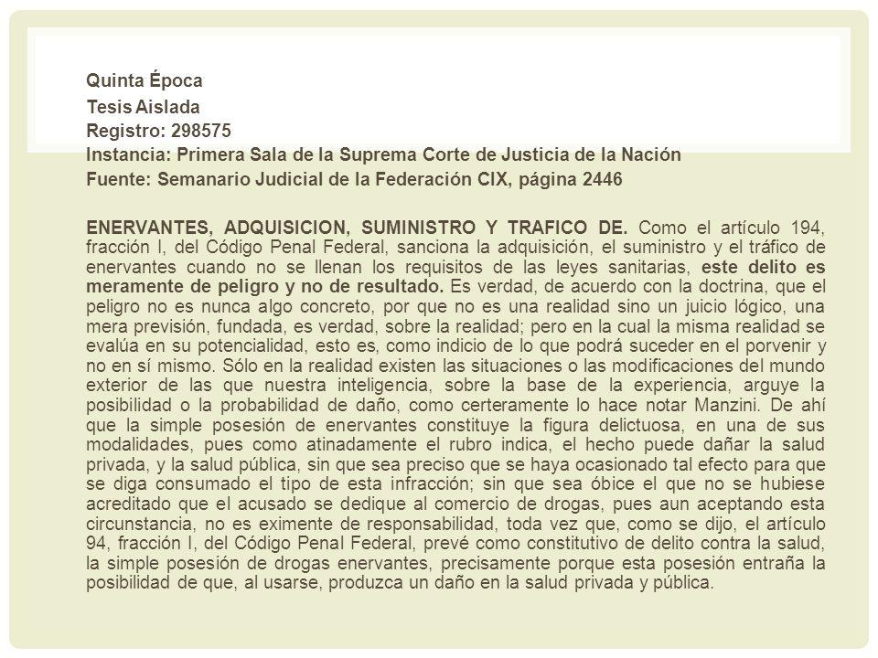 Quinta Época Tesis Aislada Registro: 298575