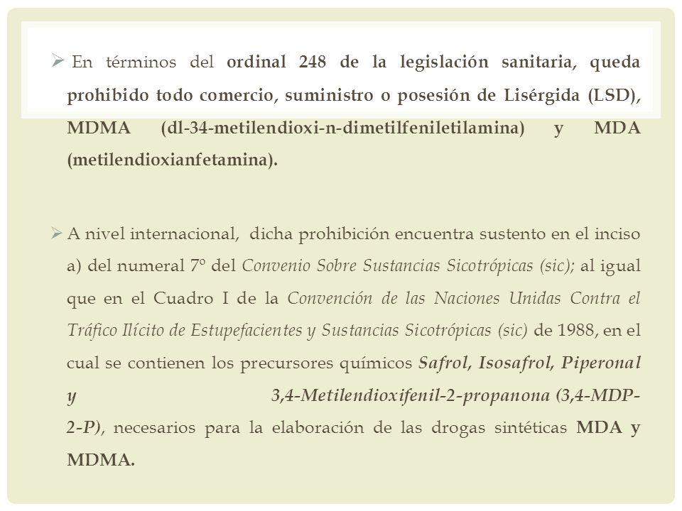 En términos del ordinal 248 de la legislación sanitaria, queda prohibido todo comercio, suministro o posesión de Lisérgida (LSD), MDMA (dl-34-metilendioxi-n-dimetilfeniletilamina) y MDA (metilendioxianfetamina).