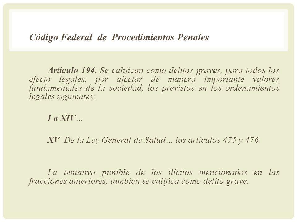 XV De la Ley General de Salud… los artículos 475 y 476