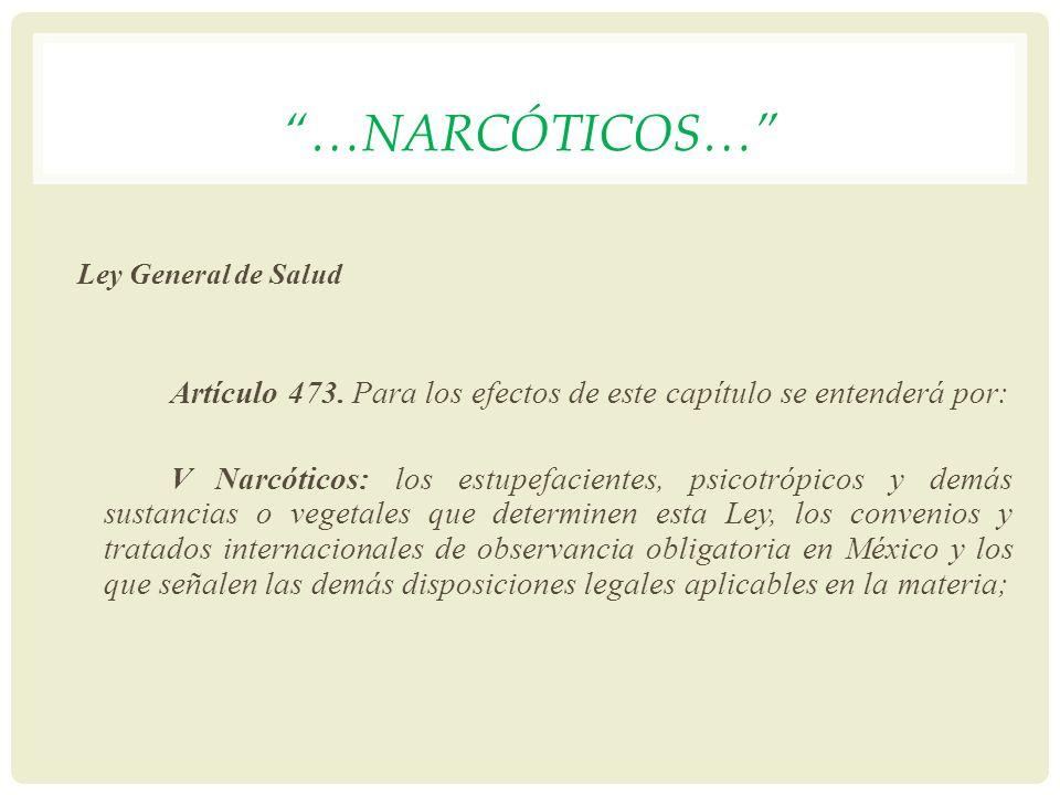 …narcóticos… Ley General de Salud. Artículo 473. Para los efectos de este capítulo se entenderá por:
