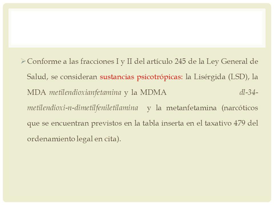 Conforme a las fracciones I y II del artículo 245 de la Ley General de Salud, se consideran sustancias psicotrópicas: la Lisérgida (LSD), la MDA metilendioxianfetamina y la MDMA dl-34-metilendioxi-n-dimetilfeniletilamina y la metanfetamina (narcóticos que se encuentran previstos en la tabla inserta en el taxativo 479 del ordenamiento legal en cita).