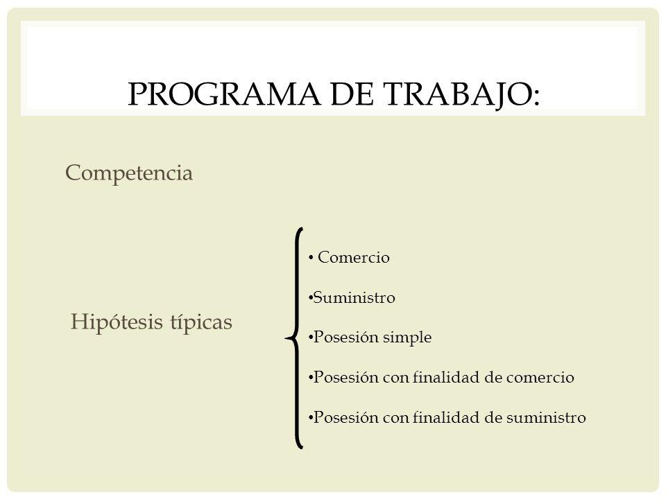 Programa de trabajo: Competencia Hipótesis típicas Comercio Suministro