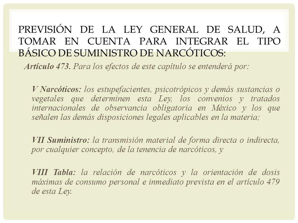 Previsión de la Ley General de Salud, a tomar en cuenta para integrar el tipo básico de suministro de narcóticos: