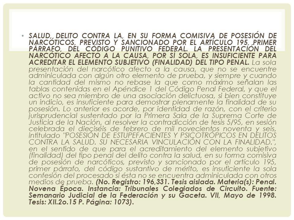 SALUD, DELITO CONTRA LA, EN SU FORMA COMISIVA DE POSESIÓN DE NARCÓTICOS, PREVISTO Y SANCIONADO POR EL ARTÍCULO 195, PRIMER PÁRRAFO, DEL CÓDIGO PUNITIVO FEDERAL.