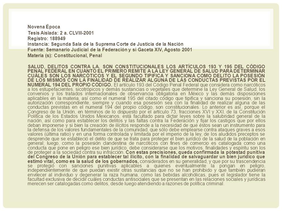 Novena Época Tesis Aislada: 2 a. CLVIII-2001 Registro: 188949