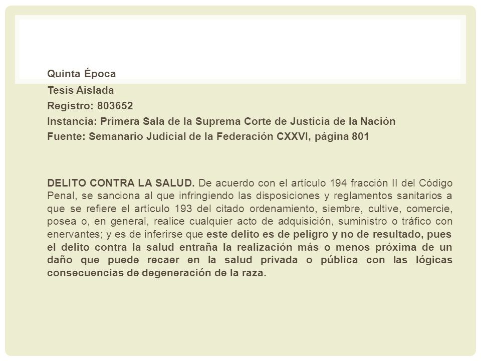 Quinta Época Tesis Aislada Registro: 803652
