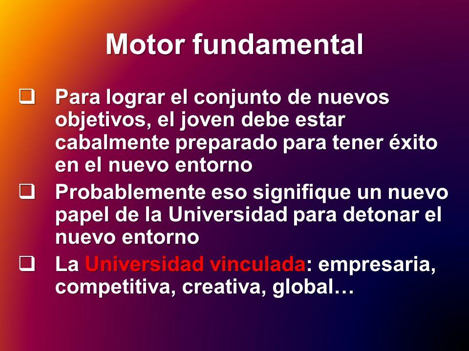 Motor fundamental Para lograr el conjunto de nuevos objetivos, el joven debe estar cabalmente preparado para tener éxito en el nuevo entorno.