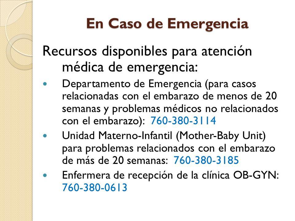 Recursos disponibles para atención médica de emergencia: