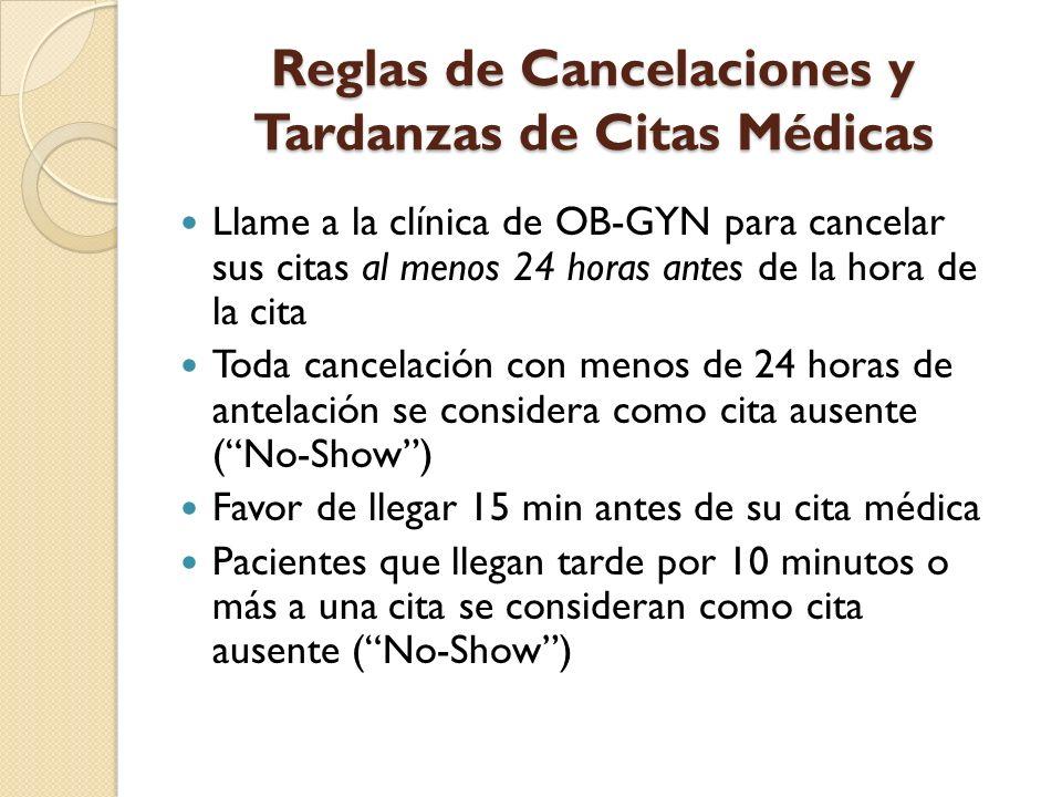 Reglas de Cancelaciones y Tardanzas de Citas Médicas