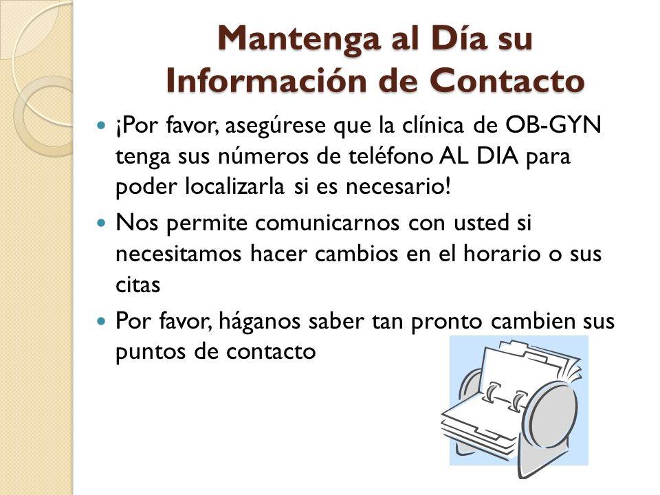Mantenga al Día su Información de Contacto