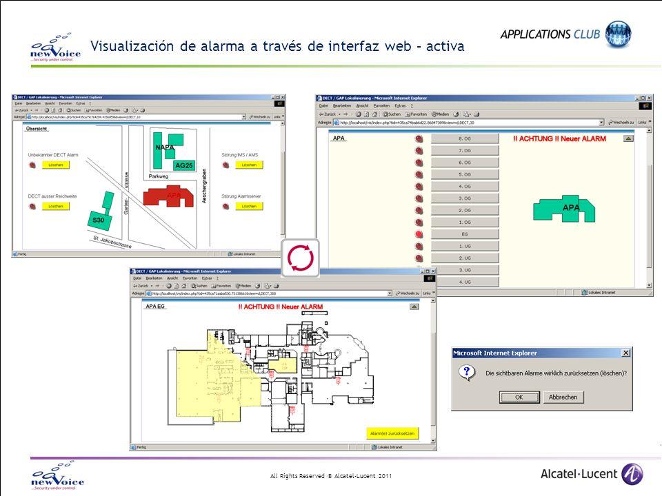 Visualización de alarma a través de interfaz web – activa
