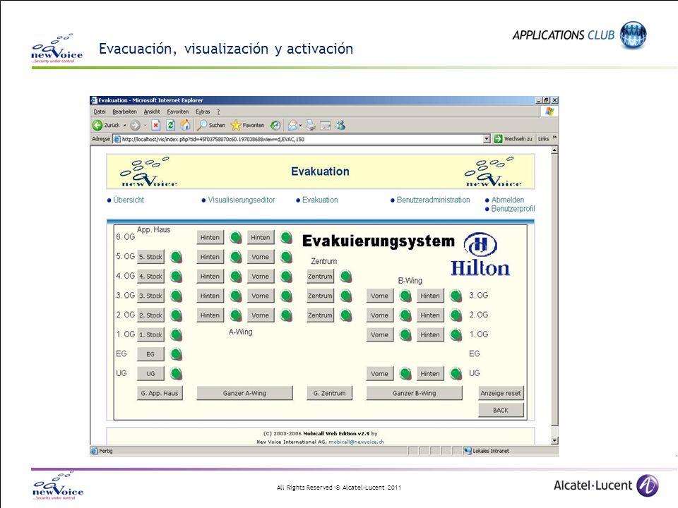 Evacuación, visualización y activación