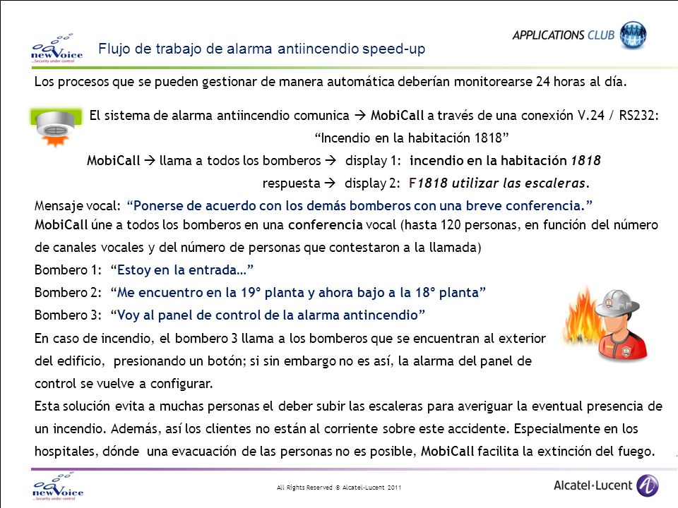 Flujo de trabajo de alarma antiincendio speed-up