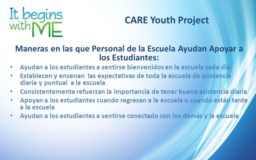 CARE Youth Project Maneras en las que Personal de la Escuela Ayudan Apoyar a los Estudiantes: