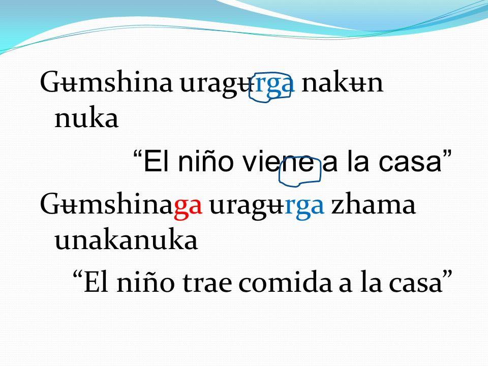 Gʉmshina uragʉrga nakʉn nuka El niño viene a la casa Gʉmshinaga uragʉrga zhama unakanuka El niño trae comida a la casa