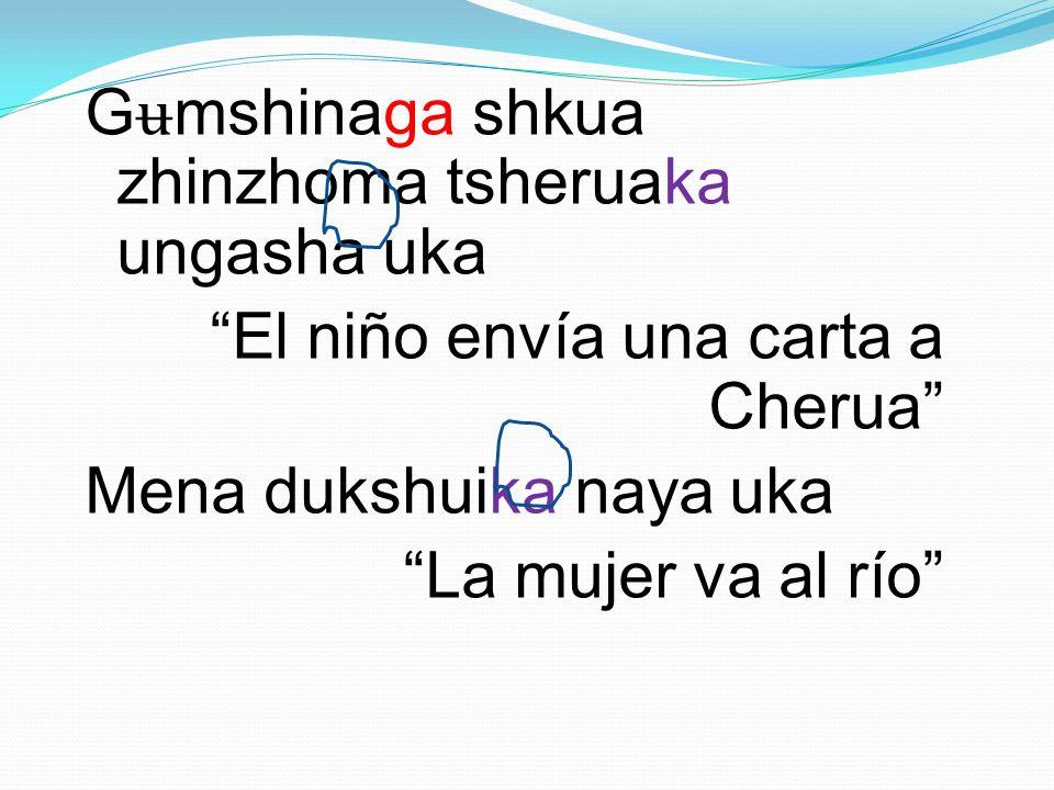 Gʉmshinaga shkua zhinzhoma tsheruaka ungasha uka El niño envía una carta a Cherua Mena dukshuika naya uka La mujer va al río