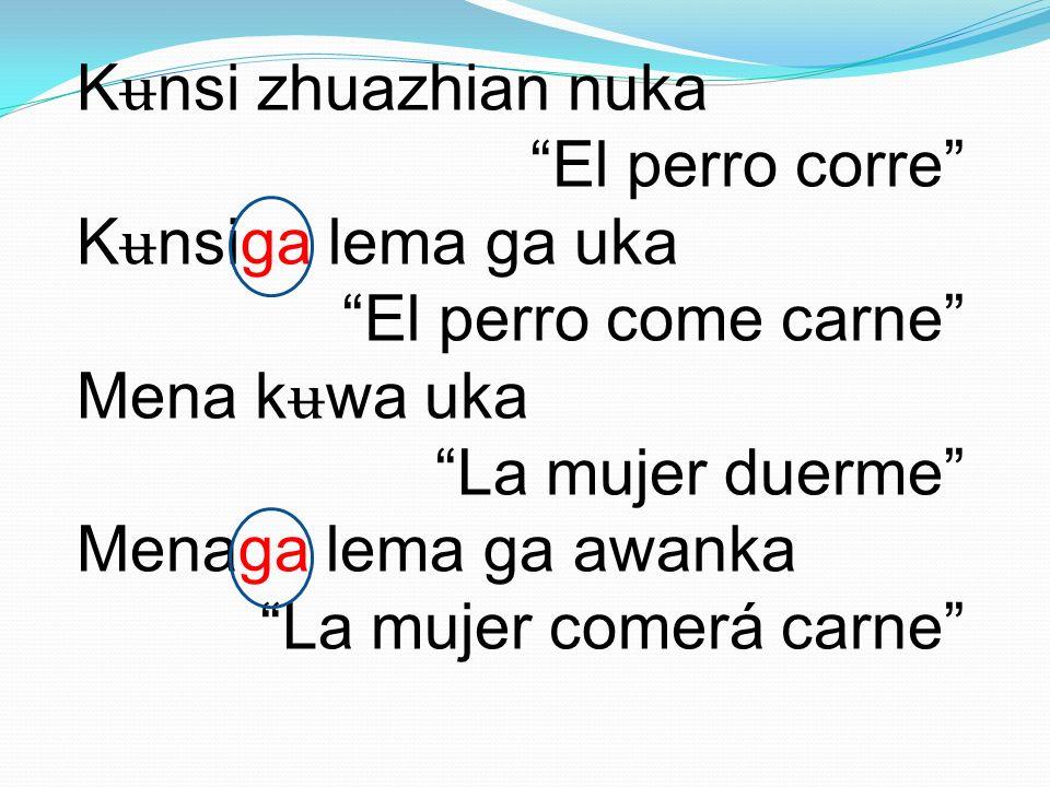 Kʉnsi zhuazhian nuka El perro corre Kʉnsiga lema ga uka El perro come carne Mena kʉwa uka La mujer duerme Menaga lema ga awanka La mujer comerá carne