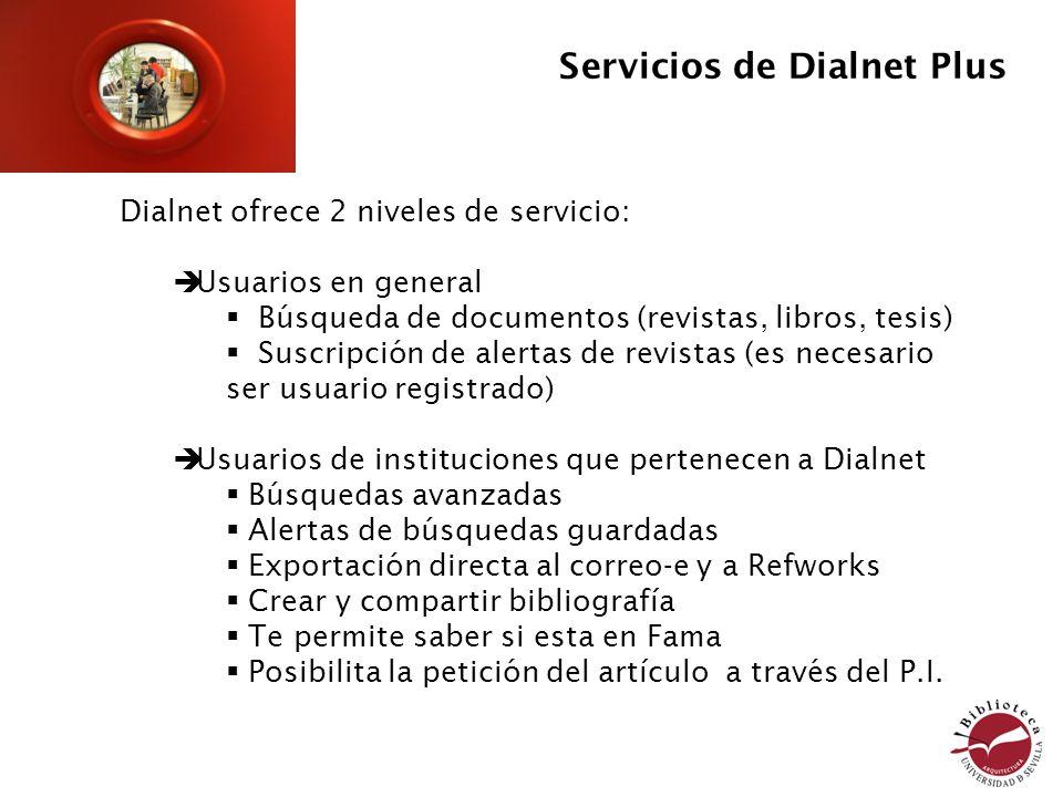 Servicios de Dialnet Plus