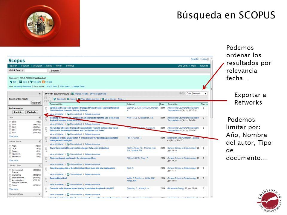 Búsqueda en SCOPUS Podemos ordenar los resultados por relevancia fecha… Exportar a Refworks. Podemos limitar por: