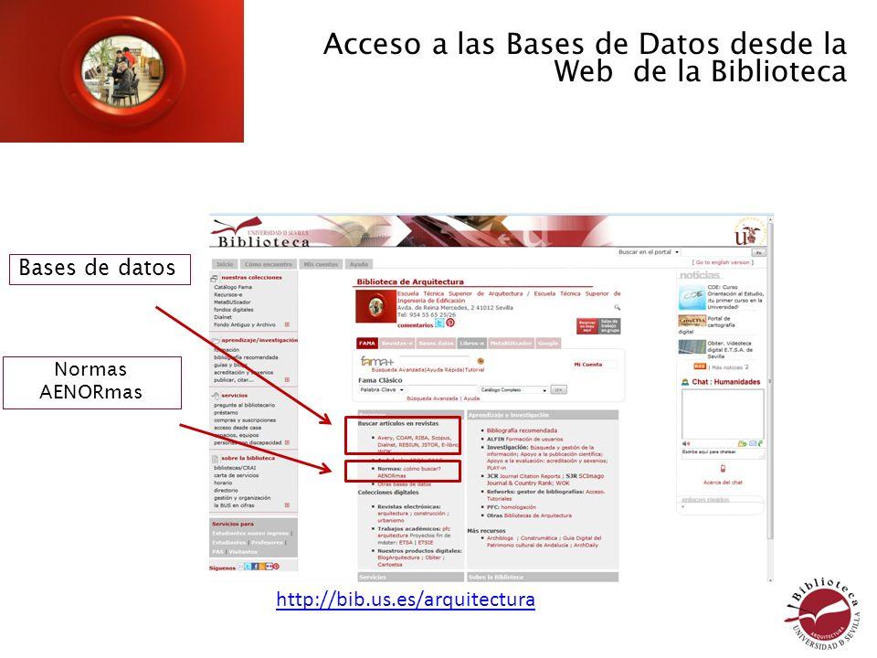 Acceso a las Bases de Datos desde la Web de la Biblioteca