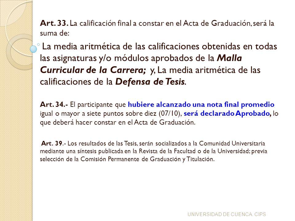Art. 33. La calificación final a constar en el Acta de Graduación, será la suma de: