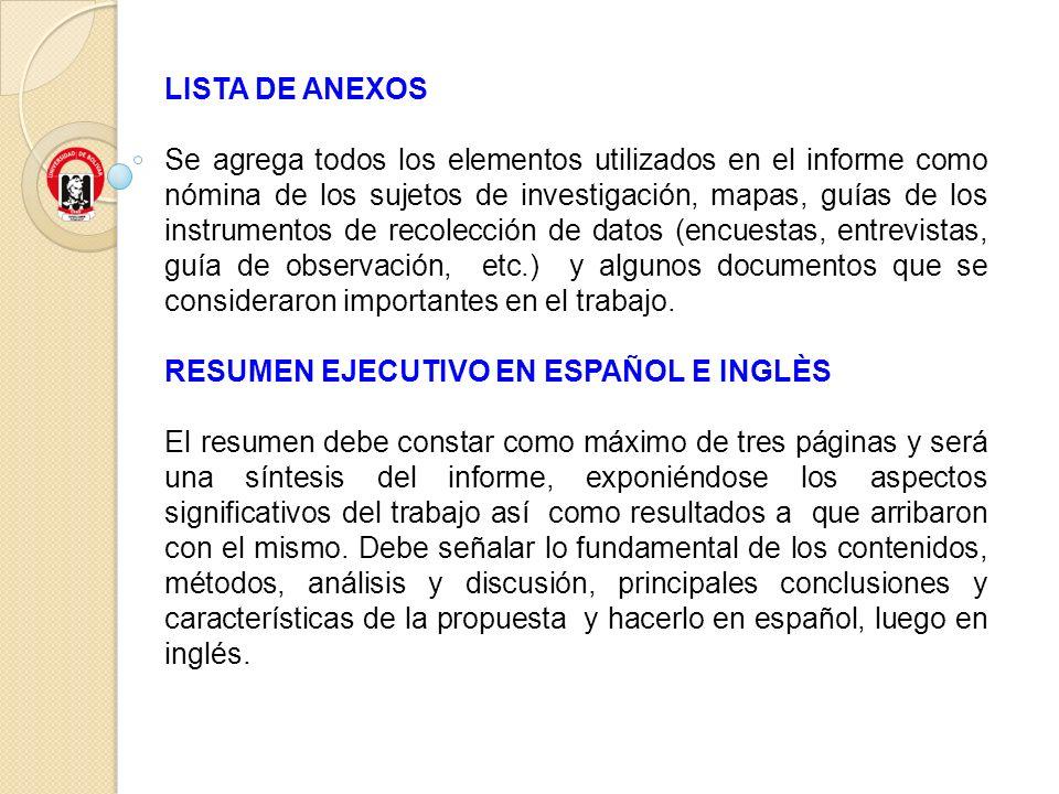 LISTA DE ANEXOS