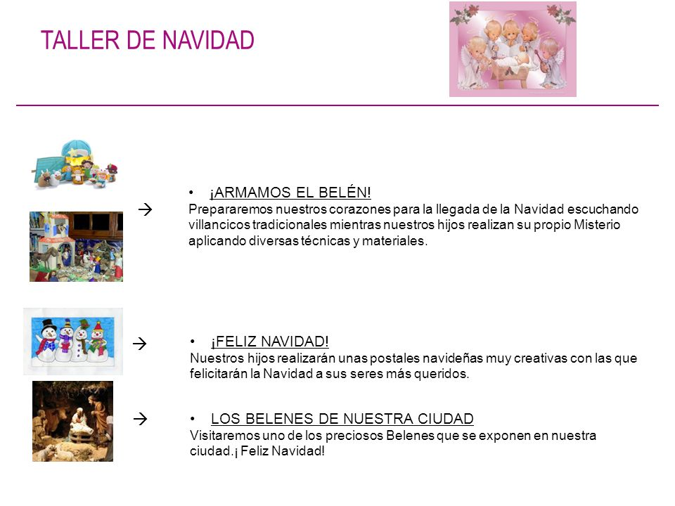 TALLER DE NAVIDAD    ¡ARMAMOS EL BELÉN! ¡FELIZ NAVIDAD!