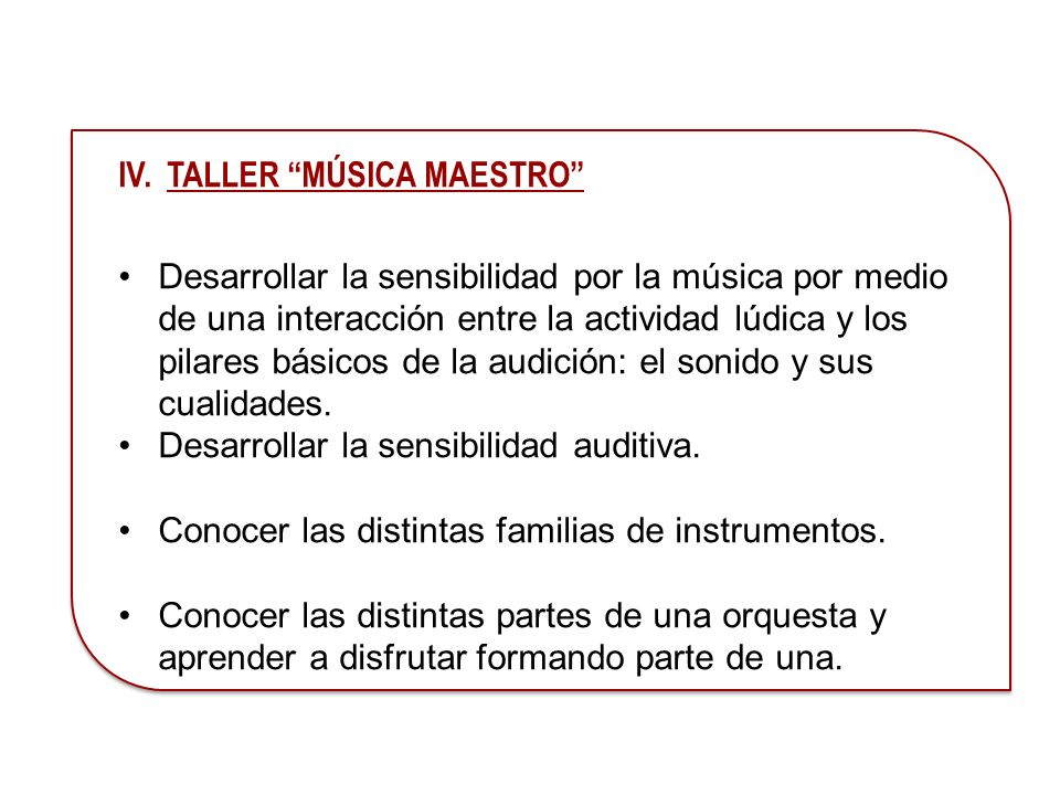 IV. TALLER MÚSICA MAESTRO
