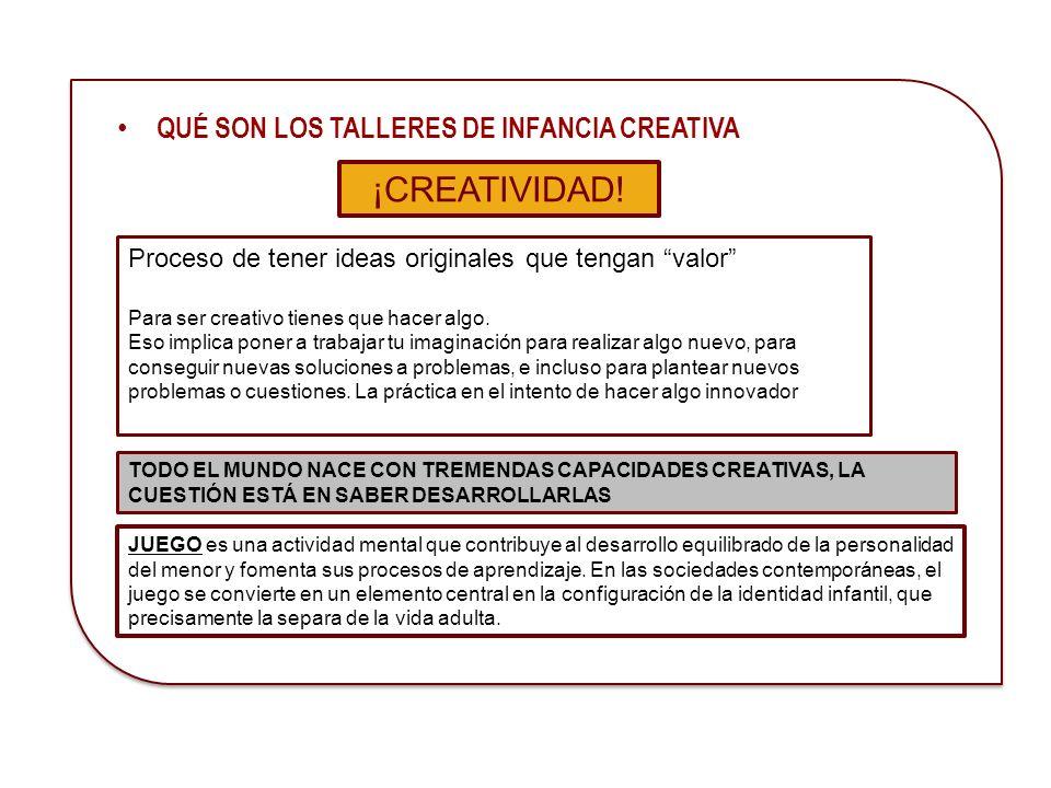 CREATIVIDAD es el proceso de tener ideas originales que tengan valor