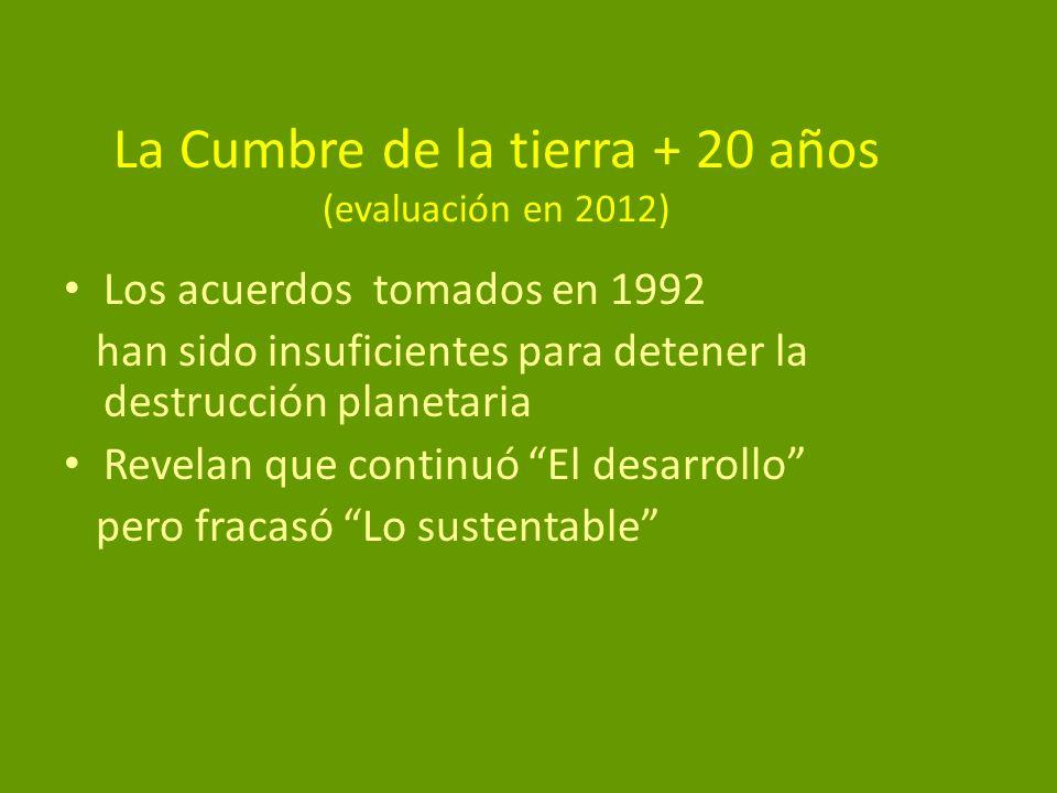 La Cumbre de la tierra + 20 años (evaluación en 2012)