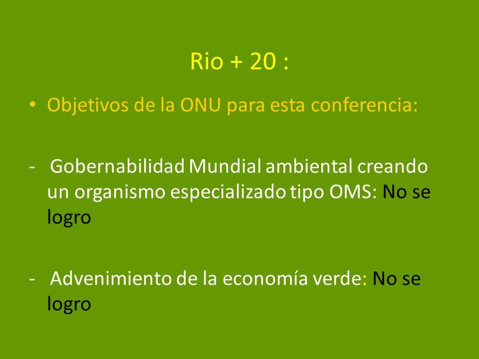 Rio + 20 : Objetivos de la ONU para esta conferencia: