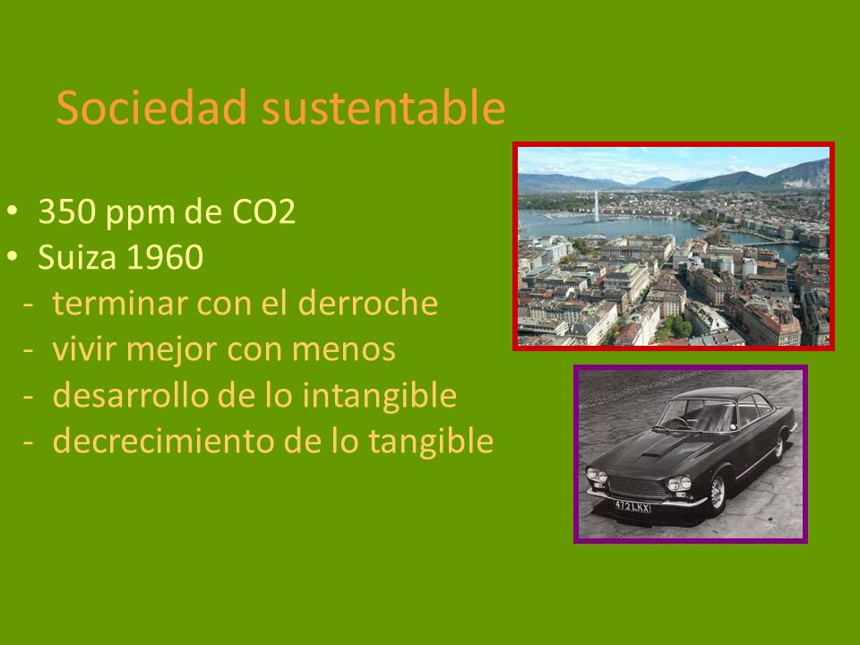 Sociedad sustentable 350 ppm de CO2 Suiza 1960