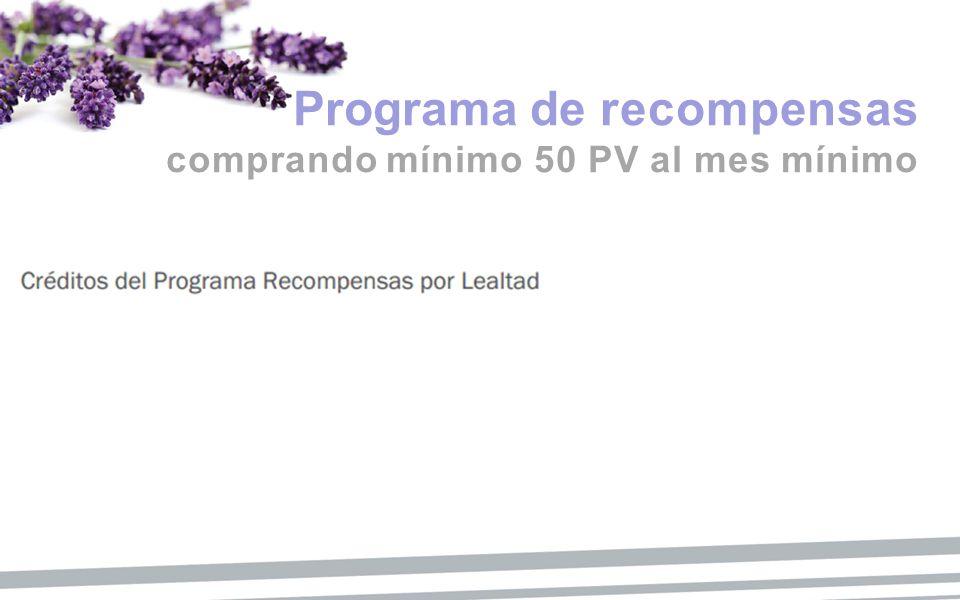 Programa de recompensas comprando mínimo 50 PV al mes mínimo