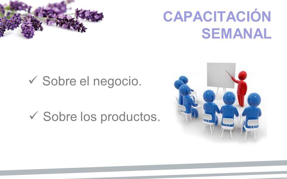CAPACITACIÓN SEMANAL Sobre el negocio. Sobre los productos.