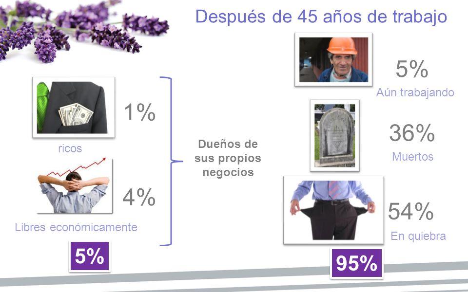 5% 1% 36% 4% 54% 5% 95% Después de 45 años de trabajo Aún trabajando