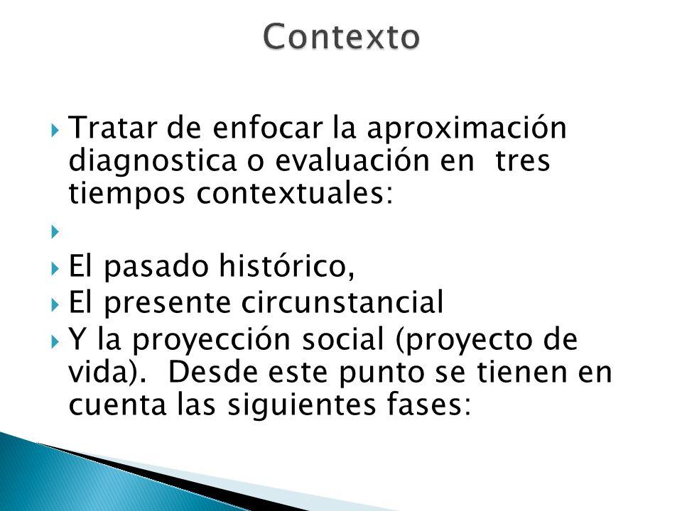Contexto Tratar de enfocar la aproximación diagnostica o evaluación en tres tiempos contextuales: