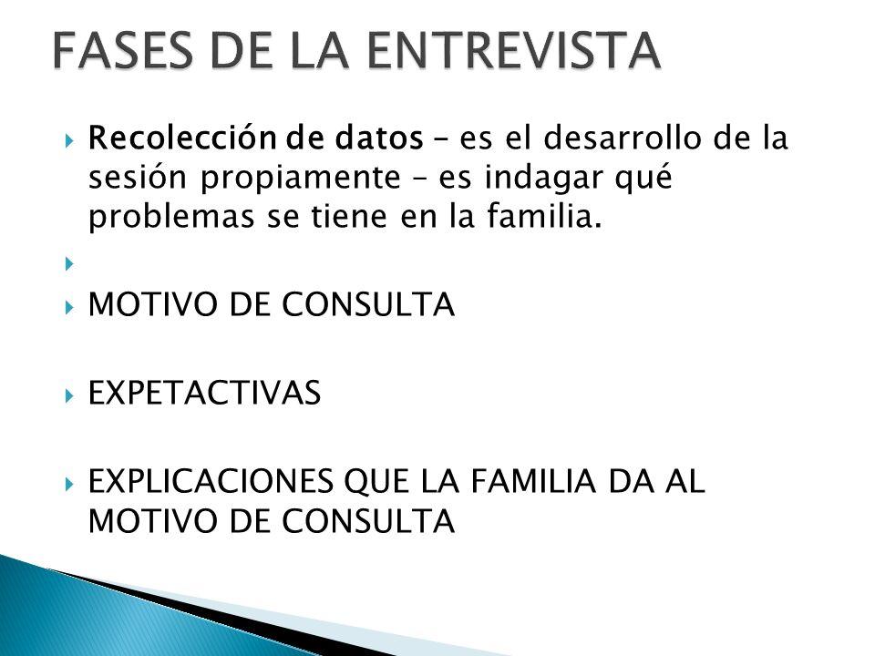 FASES DE LA ENTREVISTA Recolección de datos – es el desarrollo de la sesión propiamente – es indagar qué problemas se tiene en la familia.