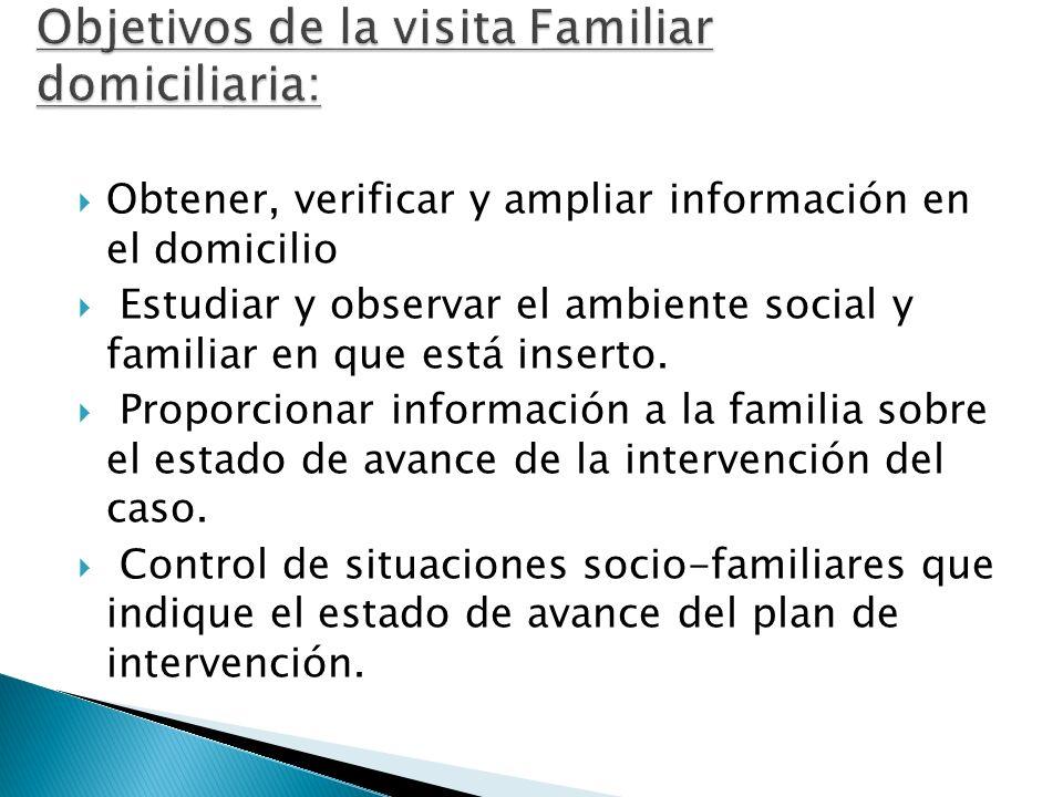 Objetivos de la visita Familiar domiciliaria: