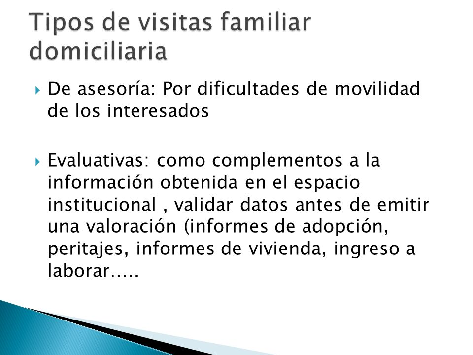 Tipos de visitas familiar domiciliaria