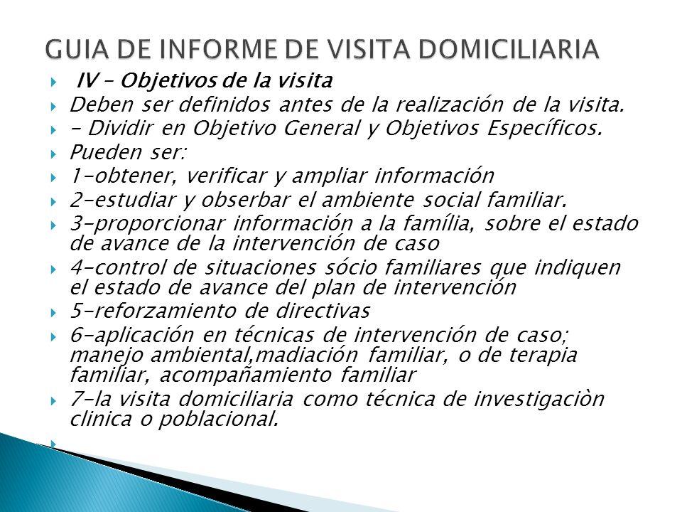 GUIA DE INFORME DE VISITA DOMICILIARIA