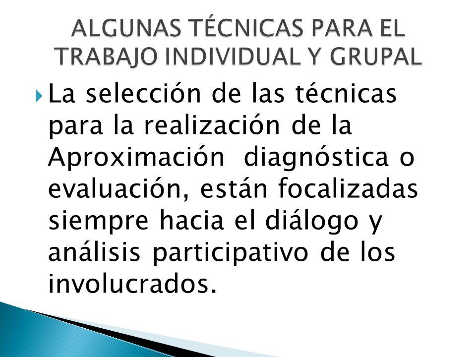 ALGUNAS TÉCNICAS PARA EL TRABAJO INDIVIDUAL Y GRUPAL