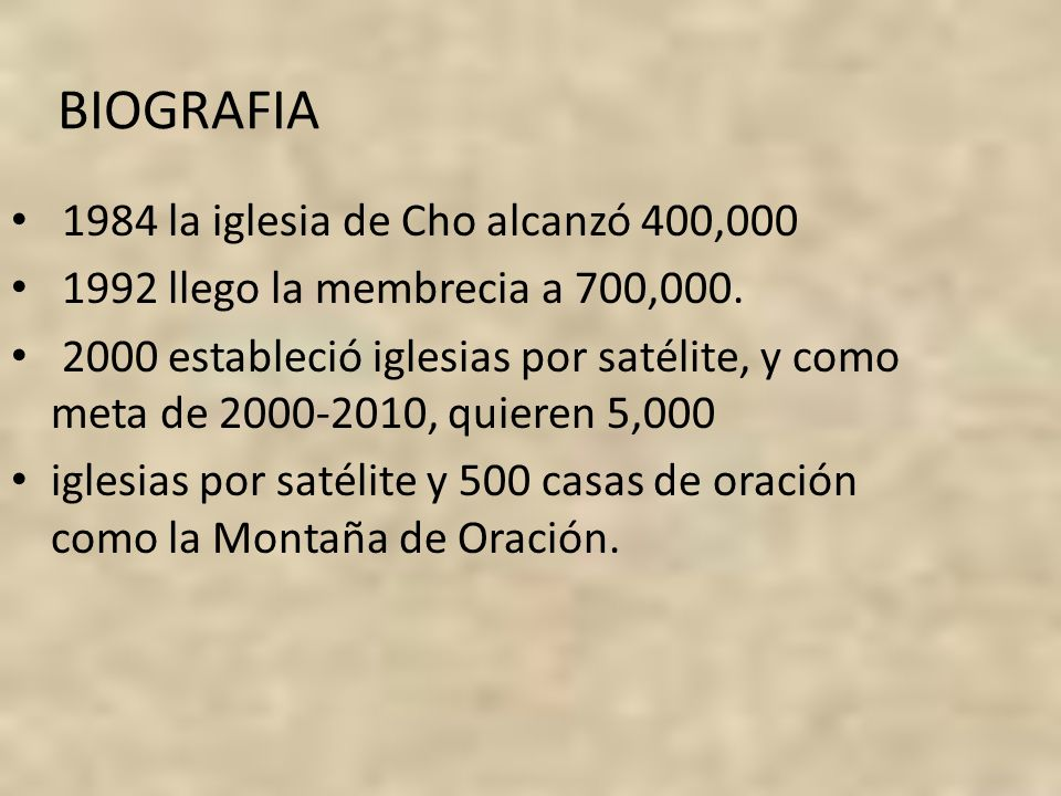 BIOGRAFIA 1984 la iglesia de Cho alcanzó 400,000