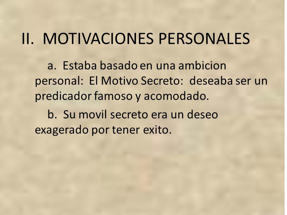 II. MOTIVACIONES PERSONALES