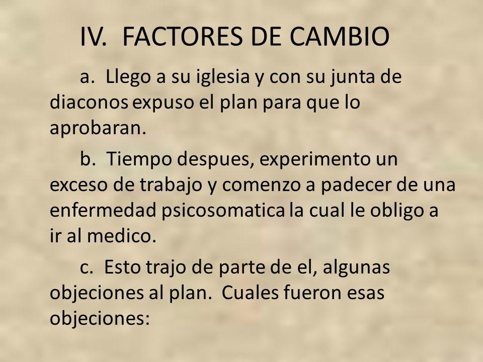 IV. FACTORES DE CAMBIO