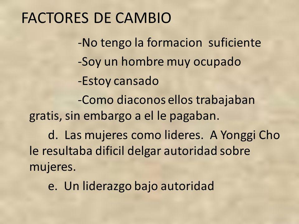 FACTORES DE CAMBIO