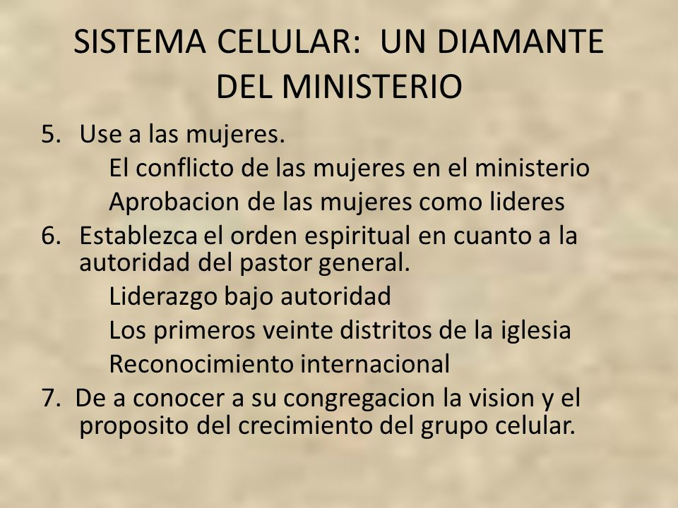 SISTEMA CELULAR: UN DIAMANTE DEL MINISTERIO
