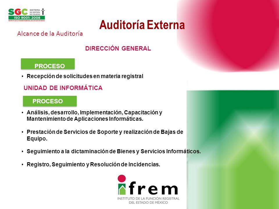 Auditoría Externa Alcance de la Auditoría DIRECCIÓN GENERAL PROCESO